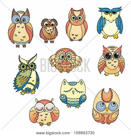 Doodle owls set. Vector furry bird collection.
