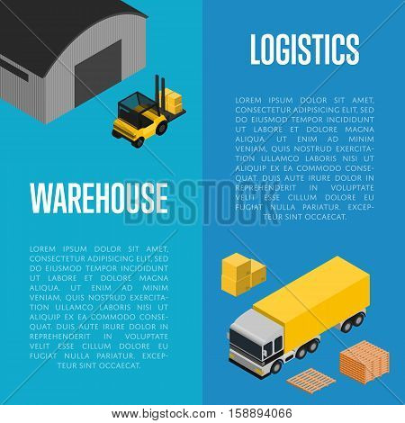 Warehouse logistics isometric vector illustration. Commercial cargo truck, forklift with boxes, loading process. Local delivery service, distribution business, freight shipping, cargo transportation