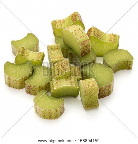 Chopped rhubarb stem isolated on white background cutout