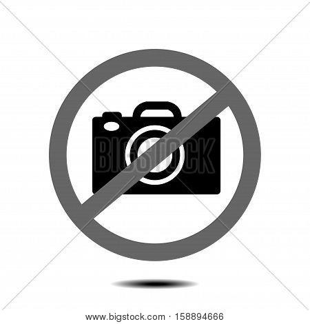 no camera no photo sign red prohibition - vector