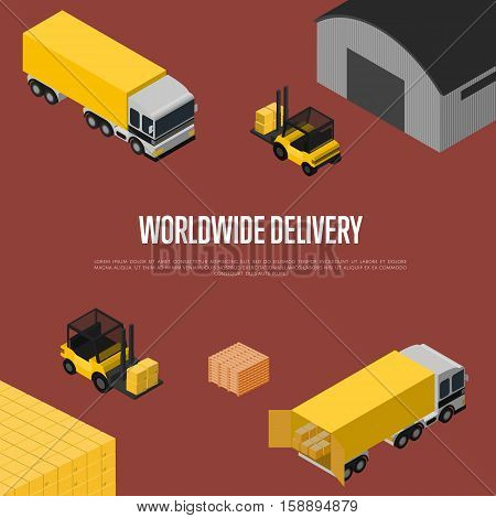 Worldwide delivery isometric vector illustration. Forklift with packing boxes loading freight truck near warehouse terminal. Worldwide cargo shipping, global delivery company, warehouse logistics
