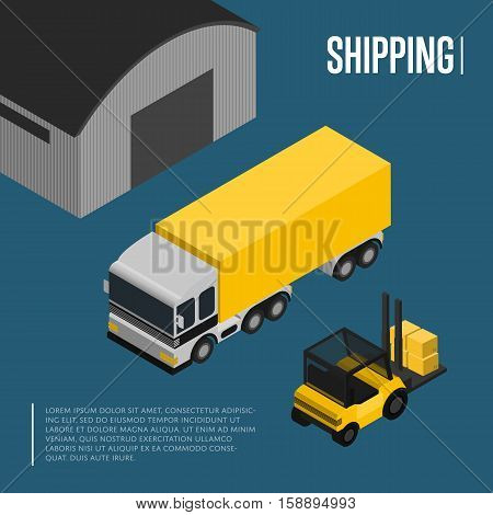 Warehouse and freight shipping isometric vector illustration. Forklift with packing boxes loading freight truck near warehouse. Warehouse logistics, local cargo shipping and distribution business