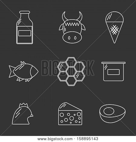 Line icons with food prohibited for vegans. Healthy lifestyle. Go vegan concept. Vegan rules for health. Outline objects with prohibited sign: meat dairy products fish poultry eggs honey