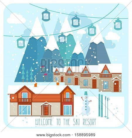 Welcome to the ski resort banner vector illustration. Snow covered cottages of ski resort on background snowy mountain landscape. Family winter holidays, active leisure, skiing and snowboarding. Ski resort ads for travel agency.
