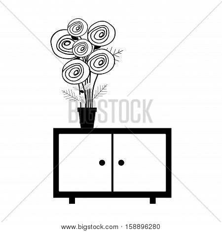 monochrome cabinet with pot and flowers vector illustration
