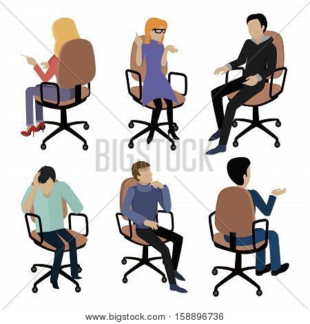 Set of people sitting on chair. Man and woman at work. Different pose and gestures. Endless work seven days a week. Working moments. Part of series of work at the office. Vector illustration