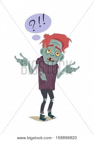 Zombie character isolated on white. Fictional being hesitating. Speech bubble with question and exclamation sign. Horror fantasy concept. Halloween science fiction man in flat style. Vector