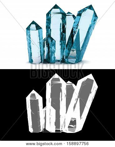 blue crystals on a white background with alpha channel transparency and 3D rendering