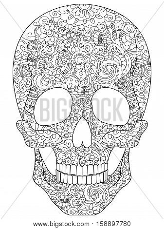 Skull coloring book for adults vector illustration. Anti-stress coloring for adult. Zentangle style. Black and white lines. Lace pattern