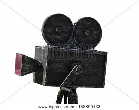 Vintage movie camera black model isolated on white background