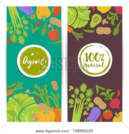 Organic food vertical flyers vector illustration. Natural vegetables colorful background. Vegetarian organic raw food, organic farming, traditional food, locally grown, bio and eco nutrition concept