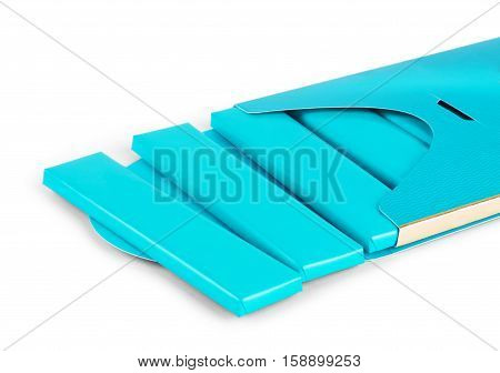 visual of blue wrap plastic foil packet packaging or wrapper for biscuit wafer crackers sweets chocolate bar candy bar snacks.