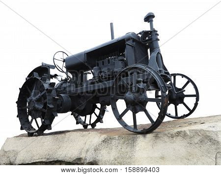 Abstract Black Old Tractor Isolated Over White