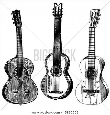 Set of vintage vector guitar illustrations