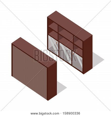Rack with glass doors on two sides vector in isometric projection. Furniture illustration for stores advertising, icons, infographics, logo, web and games environment design. On white background