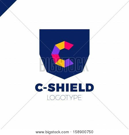 Abstract Letter C Shield Logo Design Template. Premium Nominal Monogram Business Sign. Universal Fou