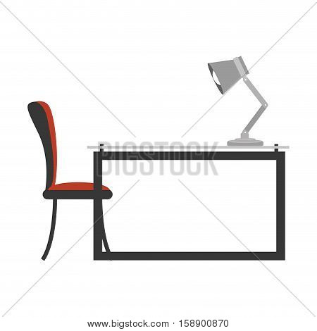 colorful side view desk with chair and lamp vector illustration