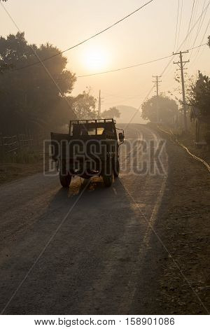 Traditional truck early morning, Mrauk U Myanmar