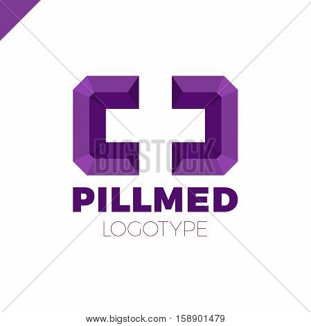Colorful Isolated Square Vector Cross Or Plus Logo. Religious Sign. Medical Symbol. Medicine Ambulan