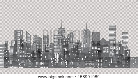 white windows on city skylines, transparent cityscape background, editable and layered