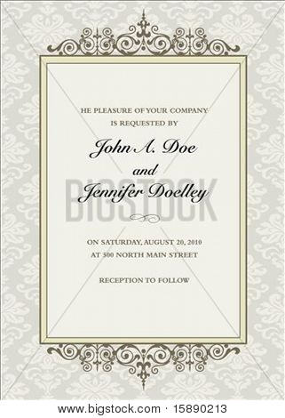 Vector floral frame with sample text. Perfect as invitation or announcement. Pattern is included as seamless swatch. All pieces are separate. Easy to change colors.
