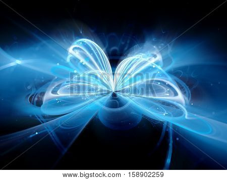 Blue glowing quantum illustration computer generated abstract background 3D rendering