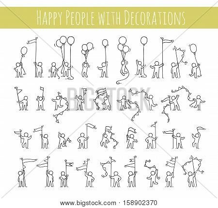 Cartoon icons set of sketch little people with party symbols. Doodle cute miniature scenes of workers with balloons flags. Hand drawn vector illustration for celebration.