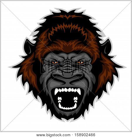 Gorilla Head Cartoon - vector illustration isolated on white.