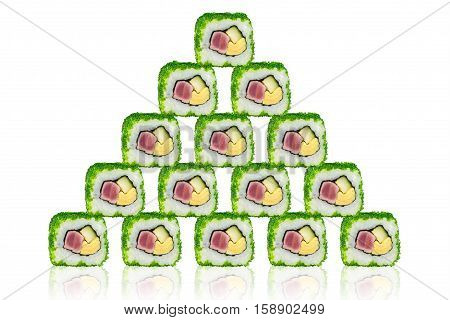 Sushi with tuna cheese and cucumber in the form of a pyramid. On a white background with reflection.