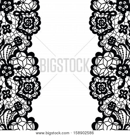 Seamless lace border. Vector illustration. Black lacy vintage elegant trim.