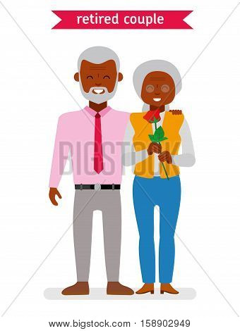 Retired couple. African American family. Flat vector cartoon character design. Elderly couple smiling happily, the man gave the woman a rose on a date. Illustration on white background.
