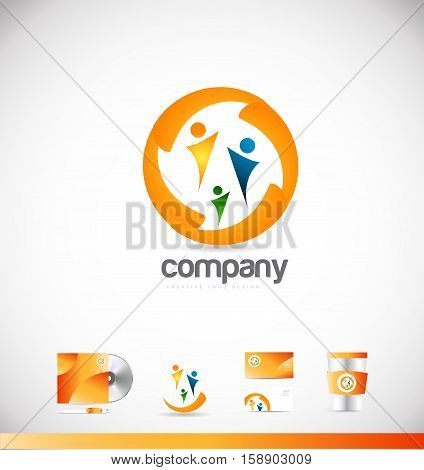 People together colors vector logo icon sign design template corporate identity