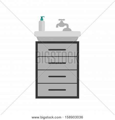 gray scale silhouette washstand with small furniture vector illustration