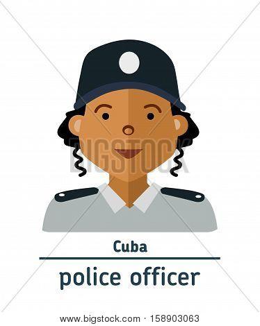 Avatar Cuba police officer on white background. Flat design.  Avatar for app