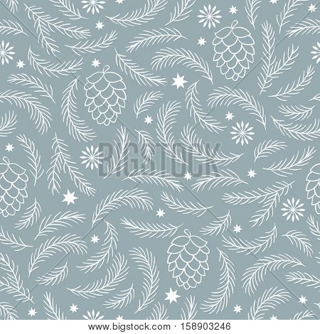 seamless winter pattern with pine cones and branches