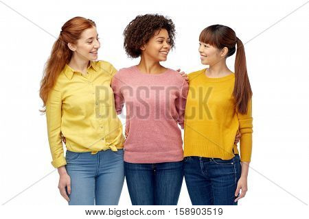 diversity, race, ethnicity, friendship and people concept - international group of happy smiling women hugging over white
