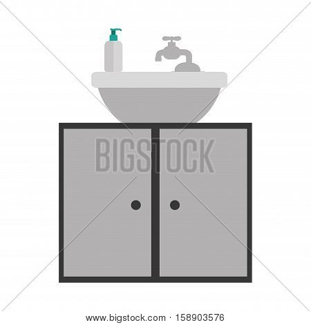 gray scale silhouette washstand with cabinet of two doors vector illustration