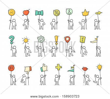 Cartoon icons set of sketch little people with life symbols. Doodle cute miniature scenes of workers with smile arrow flags. Hand drawn vector illustration for web design and infographic.
