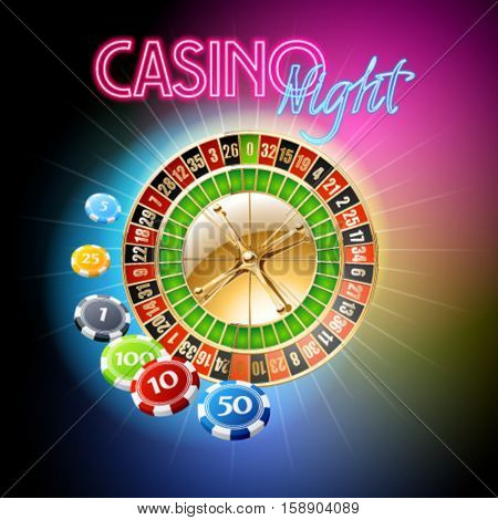 Vector casino banner with roulette wheel and chips