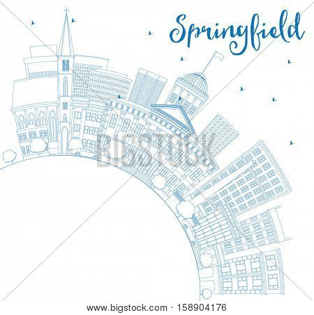 Outline Springfield Skyline with Blue Buildings and Copy Space. Vector Illustration. Business Travel and Tourism Concept. Image for Presentation Banner Placard and Web Site.