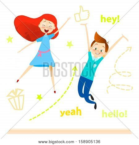 Cartoon children character. Kids jumping. Happy girls and boy enjoy and playing. isolated over white. vector. Joyful young pupils characters. Cute guy play with friends. success concept
