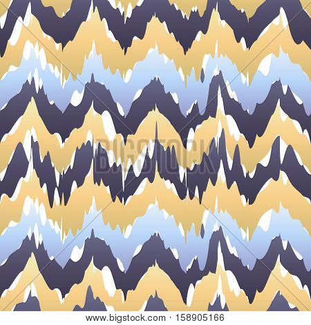 Ethnic Seamless Pattern - Vector Illustration. Beige Blue Ikat Pattern