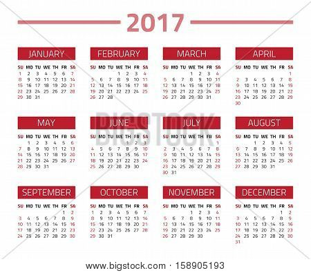 Calendar 2017 year isolated on a white background. Week starts sunday. Vector design template