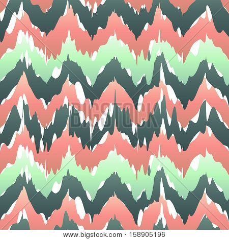 Colorful Zigzag Geometric Seamless Pattern In Pink And Green, Vector Ikat Pattern