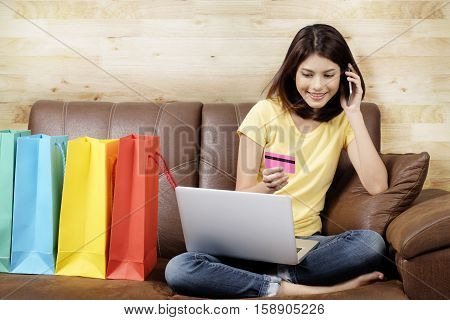 Shopping Online And Delivery Product At Home Concept.