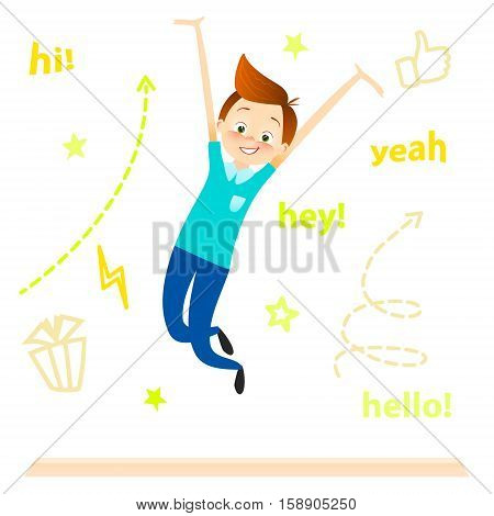 Cartoon children character. Kids jumping. Happy boy enjoys and playing. isolated over white. vector. Joyful young pupil characters. Cute guy play celebrating achievement success concept
