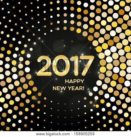 Happy New Year 2017 Abstract Golden Round Shimmer Background