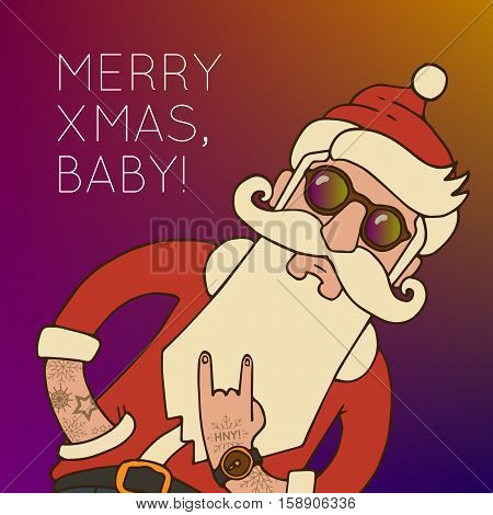Hipster Santa Claus with Stylish beard and hip sunglasses. Christmas vector illustration.
