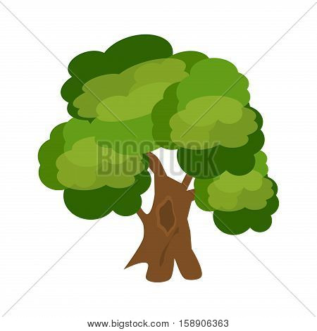 Tree nature green vector. Green tree branch design environment. Ecology graphic garden foliage oak tree. Abstract green trees plant with leaf forest branch vector organic.