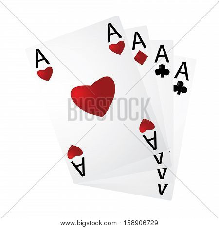 Four aces in a fan on a white background